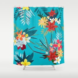Frangipani, Lily Palm Leaves Tropical Vibrant Colored Trendy Summer Pattern Shower Curtain