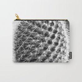 closeup cactus texture with morning sunlight in black and white Carry-All Pouch