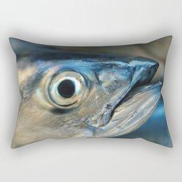 Big eye, tuna, fish, still life, photo, fine art, print, nature, sea, fishing, detail, blue Rectangular Pillow