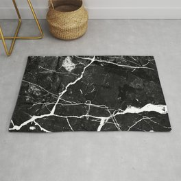 Charcoal Black Marble With White Chocolate Creamy Veins Rug