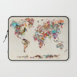 world map watercolor deux Laptop Sleeve