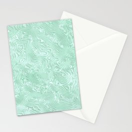 Mint Green Silk Moire Pattern Stationery Cards