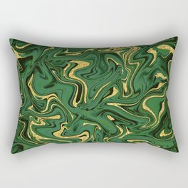 Luxury Marble Pattern in Emerald, Gold, Green and Copper Rectangular Pillow
