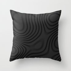 Organic Abstract 01 BLACK Throw Pillow