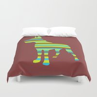 great dane Duvet Covers featuring Great Dane Stripes by Crayle Vanest