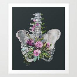 Floral Pelvis - gray background Art Print