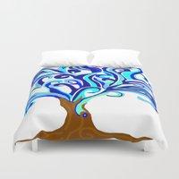 murakami Duvet Covers featuring Tree of waves by Marcy Murakami