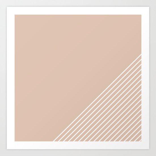 White & Pink Stripes Art Print