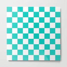 Aqua Blue Checkers Pattern Metal Print