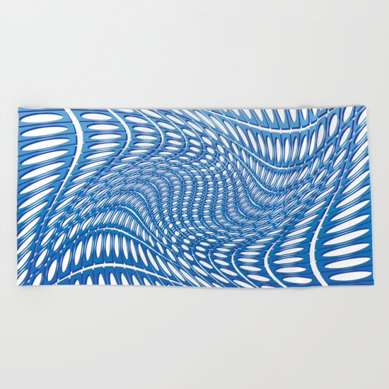 Optical Illusion in blue Beach Towel