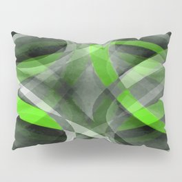 Eighties Vibes Lime and Grey Layered Curve Pattern Pillow Sham