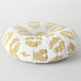 Gold Glitter Lips Floor Pillow