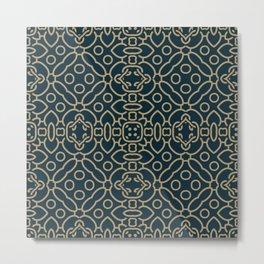 Decorative Floral Pattern 25 - Elephant Blue, Sandal Brown Metal Print