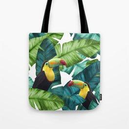 Toucans Tropical Banana Leaves Pattern Tote Bag