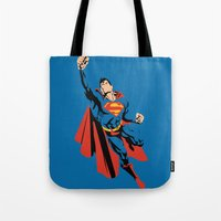 dc Tote Bags featuring DC - Superman by TracingHorses