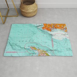 Long Beach colorful old map Rug