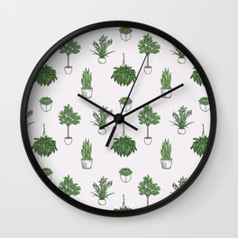 House Plants Pattern Wall Clock