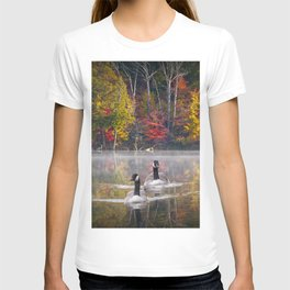 Two Canada Geese swimming in Fall T-shirt