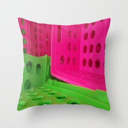 Crates in Pink and Green Throw Pillow