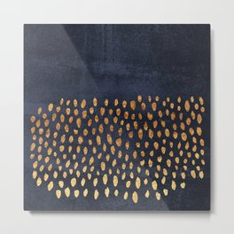 Pattern Play / Navy & Gold Metal Print