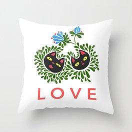 Black Cat Love Throw Pillow