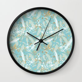 Golden Peacock Feather Pattern 04 Wall Clock