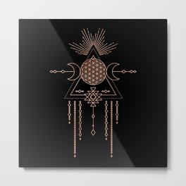 Mandala Flower of Life Rose Gold Pink Metal Print
