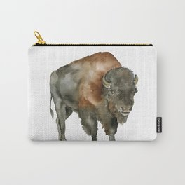 American Bison 2 Watercolor Painting Carry-All Pouch