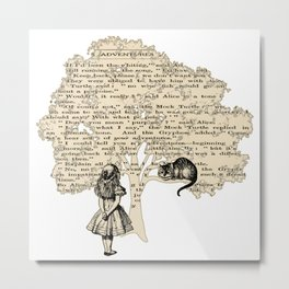 Alice In Wonderland Vintage Book Metal Print