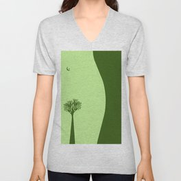 The Body of a Nature - pop art stylised erotic vector illustration in green Unisex V-Neck