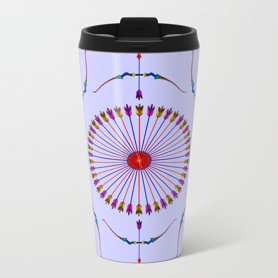 Bows and Arrows Design Metal Travel Mug