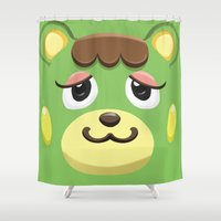 animal crossing Shower Curtains featuring Animal Crossing Charlise by ZiggyPasta