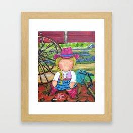 """Mia the """"Cowgirl"""",Girl room Fine Art Print,Giclee Print,whimsical cowgirl, cowgirl, Mia collection Framed Art Print"""