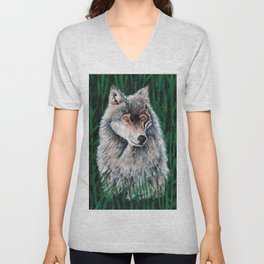 Grey Canadian Wolf Unisex V-Neck