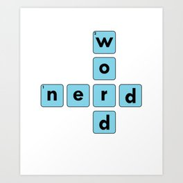 Nerd Word Crossword Puzzle Geek Numbered Squares Puzzlers Thinking Gift Art Print