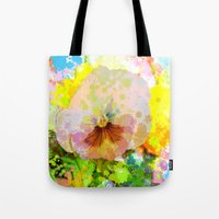 water colour Tote Bags featuring Artistic Water colour Pansy by thea walstra