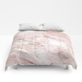 Pink marble - rose gold accents Comforters