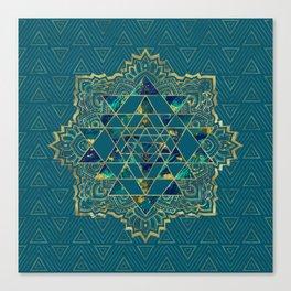 Sri Yantra  / Sri Chakra Gold, Marble and Teal Canvas Print
