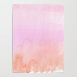 Abstract blush pink coral orange watercolor ombre Poster