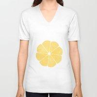 lemon V-neck T-shirts featuring Lemon by Make-Ready