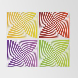 Colorful Squares twirling from the Center. Optical Illusion of PerspectiveColorful Squares twirling Throw Blanket