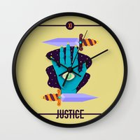 justice league Wall Clocks featuring JUSTICE by badOdds