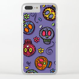 Sugar Skulls (on purple) - calavera, skull,  halloween, illustration Clear iPhone Case