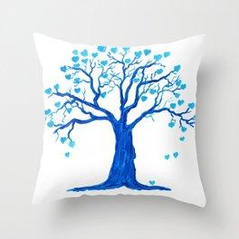 Blue Heart Tree Throw Pillow