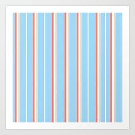 Blue Stripe Pattern Art Print