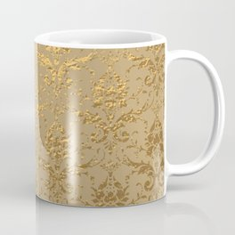 Gold Metallic Damask Beige Coffee Mug