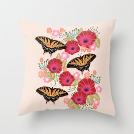 Swallowtail Florals by Andrea Lauren  Throw Pillow