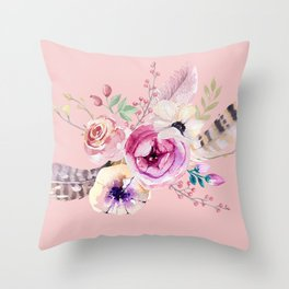 Boho Bouquet on Rose Quartz Throw Pillow