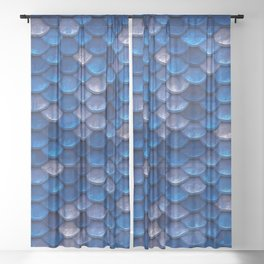 Blue Penny Scales Sheer Curtain
