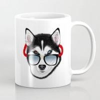 husky Mugs featuring HUSKY by Rebeca Zum